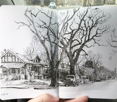 Sketched this old truck and cottonwoods from the car over two mornings in Park Hill neighborhood, Denver. Hero M86 fountain pen, Lexington Gray ink, waterbrush in Stillman and Birn Epsilon softcover sketchbook. #urbansketchers #urbansketchersdenver #sketchbook #drawing #locationsketch #denver #notebook #journal #trees #transportation #artistsoninstagram #denverartist #stillmanandbirn #fountainpen #penandink