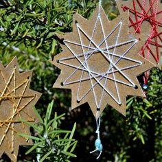 Weihnachtsdeko selber basteln -karton-stern-anhaenger