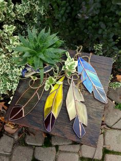 Medium Handmade Stained Glass Feathers by BohemianGlassArt on Etsy