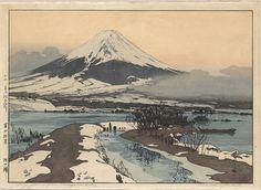 Fujiyama from Kawaguchi Lake, 1926.  Castle Fine Arts. Woodblock print.