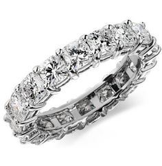2+Ct+Cushion+Diamond+Anniversary+Ring+Eternity+Band+14K+#WithDiamonds