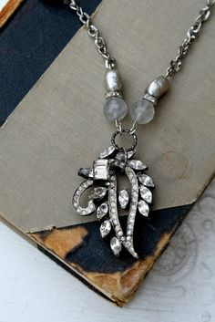 Vintage Rhinestone and Pearl Necklace from simply me art!!!