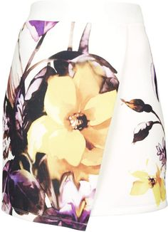 Topshop Floral Scuba Wrap Skirt in Multicolor (WHITE)