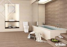 Los diseños de baño inspirados en la madera no tienen porque ser rústicos; en nuestras maderas tambien puedes encontrarlas con cortes finos y textura única que logran un baño acogedor y moderno. #ElBañoQueTeMereces #CerámicaItalia #BañosMadera Alcove, Bathtub, Bathroom, Ideas, Wooden Walls, Bowl Sink, Nordic Style, Standing Bath, Washroom