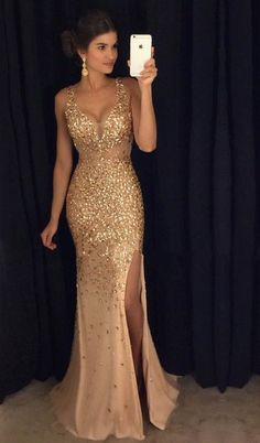 Gold Rhinestone Beaded Mermaid Evening Prom Dresses, Sexy See Through – SposaDesses