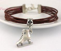 Ice skate bracelet Figure Skating Charm Bracelet by FourSeasonFair