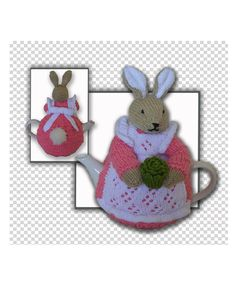 Quick & easy to make this 4-6-cup tea pot, called Beatrix Flufftail Bunny Rabbit Tea Cosy Pattern Suitable for a 4-6 Cup Tea Pot  - Basic knitting Skills Needed - Knitted on the flat with single pointed needles - American terminology with metric measurements - Written instructions with some clear images - Basic knitting stitches are used  The sample tea cozy shown was made using   Stylecraft Chunky and the decoration in Stylecraft Special DK & the tea pot size you see in the image is:...