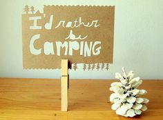 I'd rather be camping Papercut Postcard
