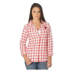NC State Wolfpack Women's Red Plaid Long Sleeve Shirt