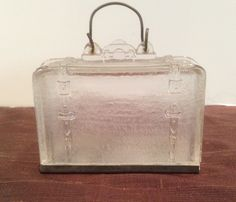 1906 Glass Suitcase West Bros. Candy Container, Antique, Collectible,  Westmoreland, Home Decor, Pressed Glass, Bail Handle, Tin Closure by Sunshineoftreasures on Etsy https://www.etsy.com/listing/227298922/1906-glass-suitcase-west-bros-candy