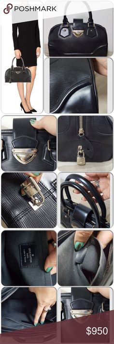 """traded Louis Vuitton Epi Bowling Montaige GM Black Epi Leather with silver tone hardware, comes with lock and key. Push lock closure with normal wear. Black woven lining interior. Inside has some makeup powder remnants but overall the bag is in great condition, sturdy can hold lots, no holes or damages. Selling for my friend, she had it in a plastic storage container, no dustbag or box available. 14.5x8.5x5"""" handle drop 6"""" Louis Vuitton Bags Totes"""