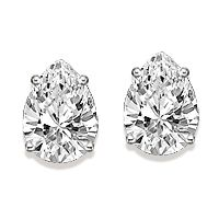Pear Cubic Zirconia Stud Earrings in 14K...  These beautiful stud earrings feature two pear shaped diamond quality cubic zirconia stones set in our four-prong basket setting. Available in 14K white gold or 14K yellow gold.  Starting at $145.00 ... http://www.mystiquegems.com