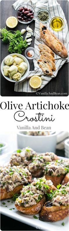 Olive Artichoke Crostini.
