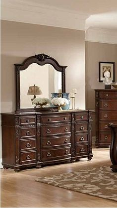 Hillcrest Manor Rich Cherry Wood Glass Dresser And Mirror w/Marble Top