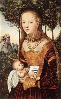 Молодая мать с ребенком - Лукас Кранах Старший