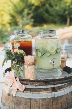 rustic wedding drink dispenser / http://www.deerpearlflowers.com/wedding-drink-bar-station-ideas/