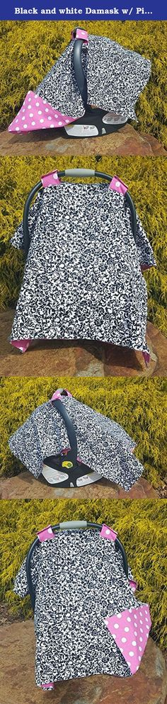 Black and white Damask w/ Pink Polka Dot Carseat Canopy- carseat cover, carseat blanket, baby girl,modern baby, baby shower gift girl. My light weight canopies are great for spring and summer babies. Both front and back are made with 100% cotton designer fabric. These are great for keeping the sun off your baby as well as common germs. Easily detach the velcro straps to use as a play mat or a nursing cover. Measurements are approximately 35 x 41 inches, made to fit most car seat carriers.