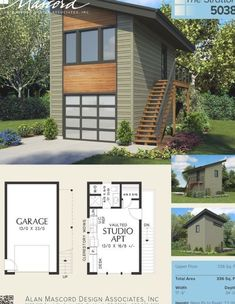 Garage Studio Apartment, Above Garage Apartment, Garage Apartment Plans, Garage Apartments, Studio Apartments, Studio Apartment Floor Plans, Rv Garage, Tiny House Cabin, Small House Plans