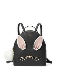 Kate Spade Hop to It Rabbit Sammi Backpack Black Saffiano Leather for sale online Kate Spade Backpack, Kate Spade Purse, Backpack Purse, Black Backpack, Leather Backpack, Backpack Straps, Leather Bag, Backpacks For Sale, Stylish Clothes