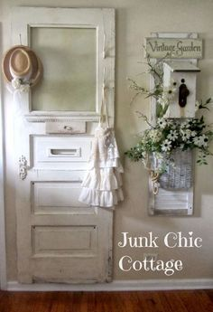 Shabby chic - love the look of the door.