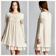 SOLD  The Victoria Dress Beautiful long sleeve dress with with lace trim in a gorgeous almond shade Fully lined,  non sheer  Material is rayon and polyester  Size Available S M L   Small  Bust Measures 17 inches across  Medium bust measures 18 inches  Large Bust measures 19 inches   Length  measures 37.5 inches long Boutique  Dresses Long Sleeve