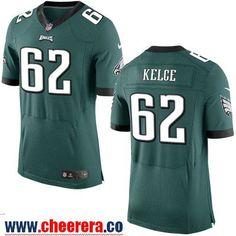 Men's Philadelphia Eagles #62 Jason Kelce NEW Midnight Green Team Color Stitched NFL Nike Elite Jersey