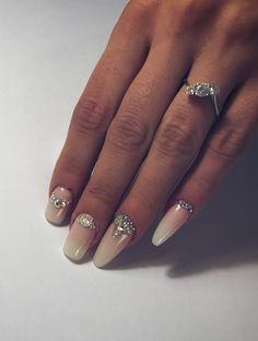 #Baby #Boomer #Nails #Swarovski