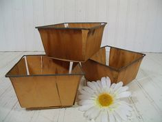 Vintage Set of 3 Wooden Berry Baskets - Farm House Fresh Finds for Storage - 3 Rustic Sea Foam Green Metal Trimmed Organizer Bins Collection $19.00 by DivineOrders