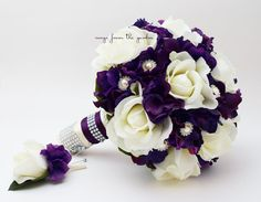 Hey, I found this really awesome Etsy listing at https://www.etsy.com/ca/listing/201055241/purple-white-real-touch-rose-hydrangea