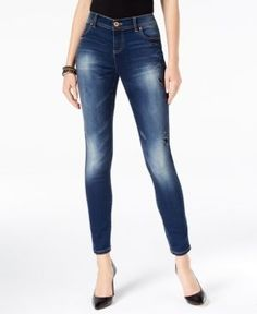 INC Petite Skinny Distressed Jeans, Created for Macy's - Blue 10P