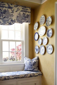 Nothing can be more charming than an architect's attention to a built-in feature such as this cozy window seat.These features usually have built-in storage below & often shelves on the sides for a reading nook. Blue And White China, Blue Yellow, Yellow Walls, Blue Willow China, Bedroom Yellow, Blue China, Bedroom Sets, Bedrooms, Kitchen New York