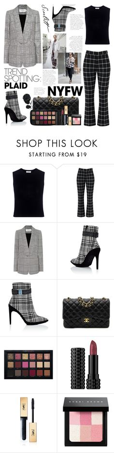 """NYFW trend spotting: plaid"" by nindunia on Polyvore featuring A.L.C., self-portrait, Off-White, Chanel, Kat Von D, Yves Saint Laurent and Bobbi Brown Cosmetics"