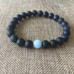 Excited to share the latest addition to my #etsy shop: 8mm Matte black onyx Bracelet, Beaded Bracelet, Men's Bracelet, aquamarine matte black onyx, black bracelet, women bracelet , onyx jewelry,