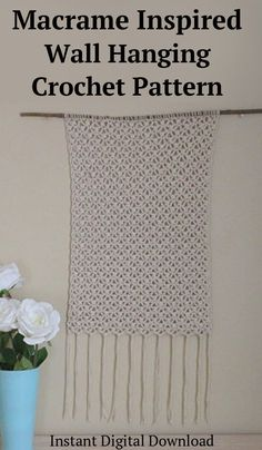 Easy Crochet pattern for Macrame inspired wall hanging. Instant digital download. #crochetwallhanging, #crochetmacrame, #affiliate Knit Crochet, Crochet Hats, Crochet Wall Hangings, Rope Crafts, Easy Crochet Patterns, Diy Wall, Macrame, Diy Home Decor, Weaving