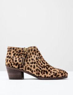 Zip Low Heel Boot Tan Leopard Pony Women Boden, Tan Leopard Pony