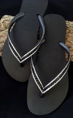 25db40b0225e Black Flip Flops Custom Jewel Havaianas Slim Jet w  Swarovski Bling Crystal  Glass Slipper Rhinestone Wedding Sandals Beach Bride Thong Shoes