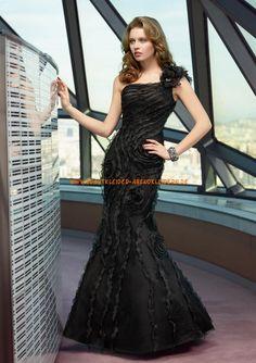 Einschulter Meerjungfrau Lange Abendkleider aus Organza