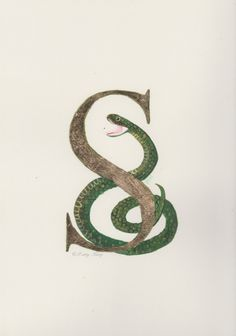 drawingmyselfonepixelatatime:  Slytherin Hand-Painted Snake with a Gold-Leafed Letter S