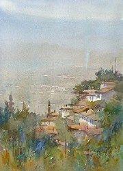 """Birgi I, Turkish Landscape Painting"" - Original Fine Art for Sale - © Keiko Tanabe"
