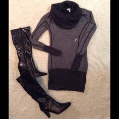 """NYE     Gorgeous Cache sweater    NYE wear     Gorgeous Cache bodycon two tone grey sweater. Size XS, excellent condition. Please ask questions about item you need   Please check out my closet  MissLela has your ❤️ ❤️ """"BundleLove """"❤️ ❤️ Cache Sweaters Cowl & Turtlenecks"""