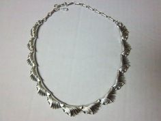 Vintage Silvertone Coro Pegasus Scalloped Adjustable Necklace 45g #Coro #Collar