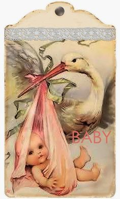 Vintage Stork with Baby Tag ~ Brocante Brie