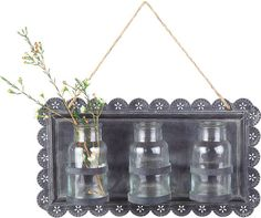 Tin Wall Decor with 3 Glass Vases for living room or dining room Tin Walls, Metal Walls, Metal Wall Decor, Wall Art Decor, Hanging Vases, Wall Vases, Home Wall Art, Flower Wall, Flower Vases