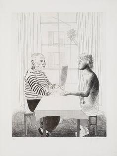 "David Hockney, etching, ""Artist and Model"""