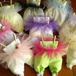 Baby Bloomers Sachets- How cute are these!! Baby shower favors at Beau Coup