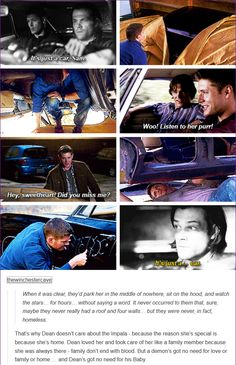 10x02 Reichenbach [gifset] - a demon's got no need for love or family or home … and Dean's got no need for his Baby. - Sam and Dean Winchester, '67 Impala, Supernatural