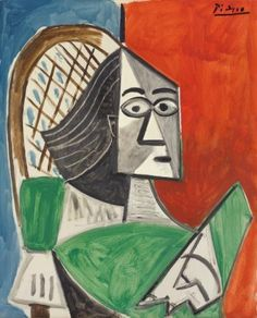 'woman sitting on a blue-red background' by pablo picasso Pablo Picasso Drawings, Picasso Cubism, Picasso Portraits, Picasso Woman Painting, Picasso Paintings, Oil Paintings, Landscape Paintings, Cubist Movement, Art Therapy Projects