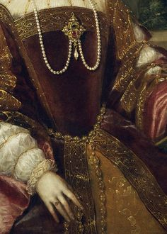 Detail of painting Empress Isabel of Portugal, 1548, painter Tiziano Vecellio