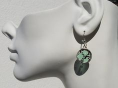 """Murano Lampwork Glass Beads, faceted jewelry.*Awesome Earrings* Very light and comfortable! """"Light Green & Black Murano Gems"""" Agate Pattern Simulate .999"""