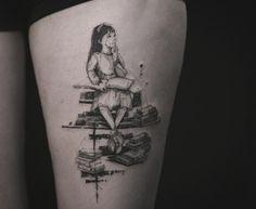 nice Body - Tattoo's - Mathilda book tattoo design by Nadi. Tattoos Skull, Mini Tattoos, Rose Tattoos, Body Art Tattoos, Sleeve Tattoos, Tatoos, Sketch Style Tattoos, Tattoo Sketches, Best Tattoo Designs